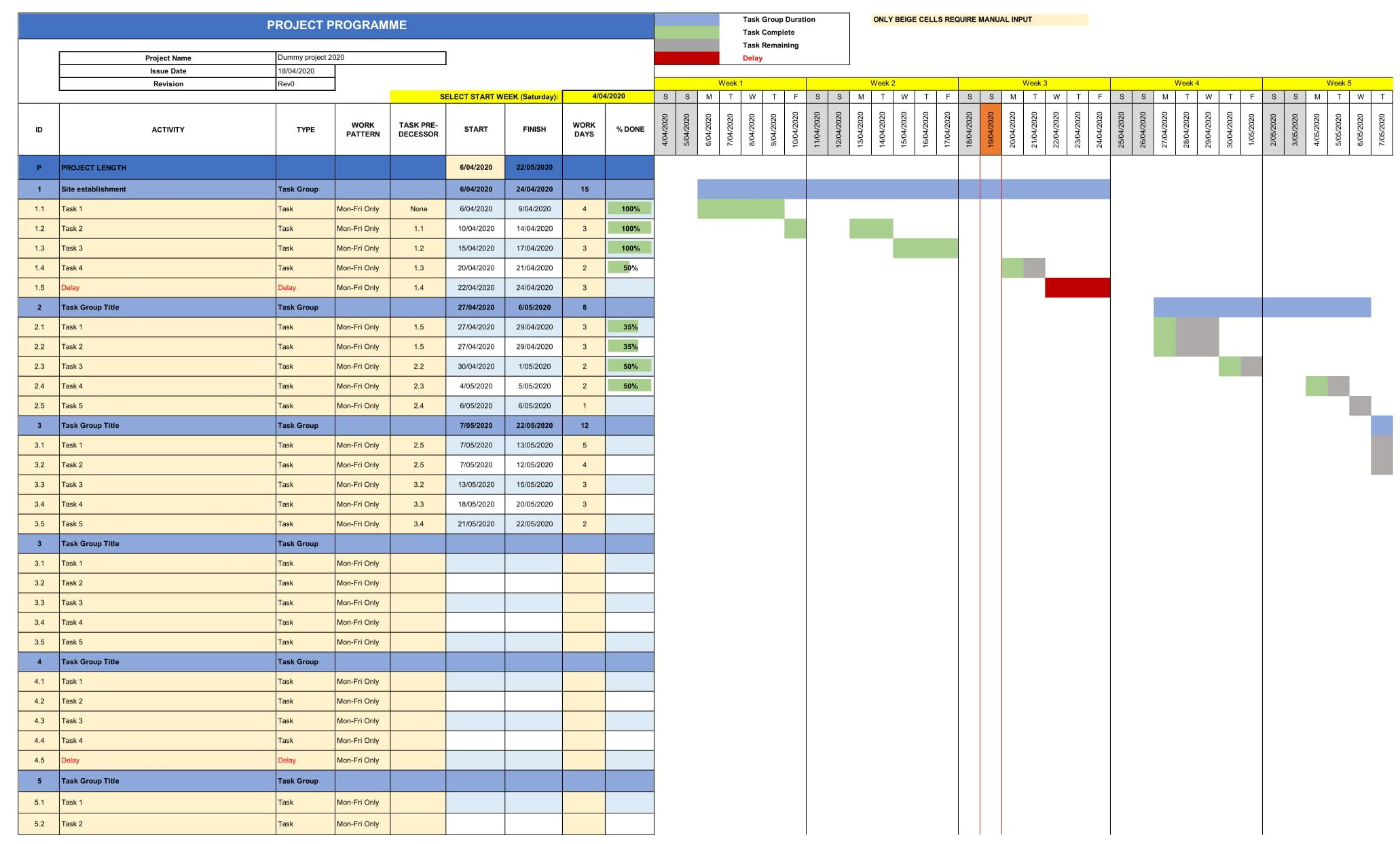 construction programme template