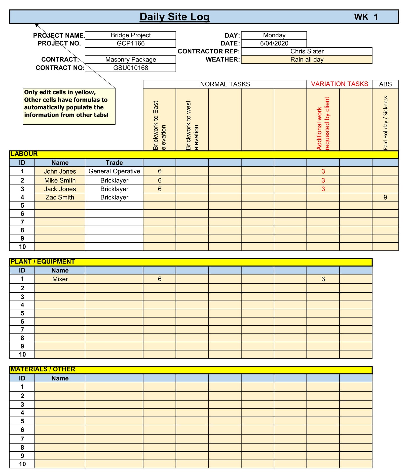 site allocation sheet daily log excel template 1