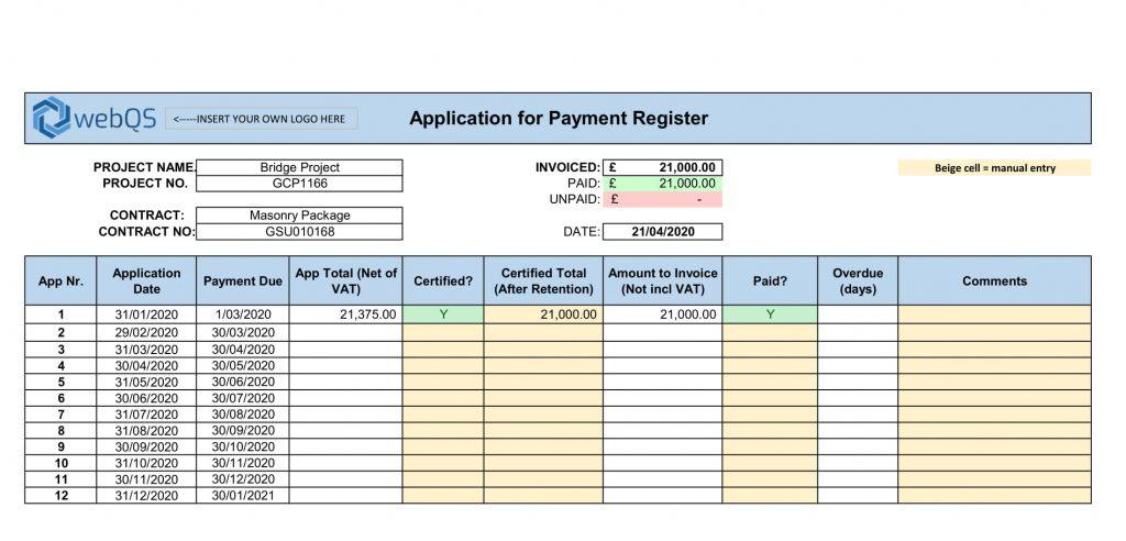 progress payment template schedule