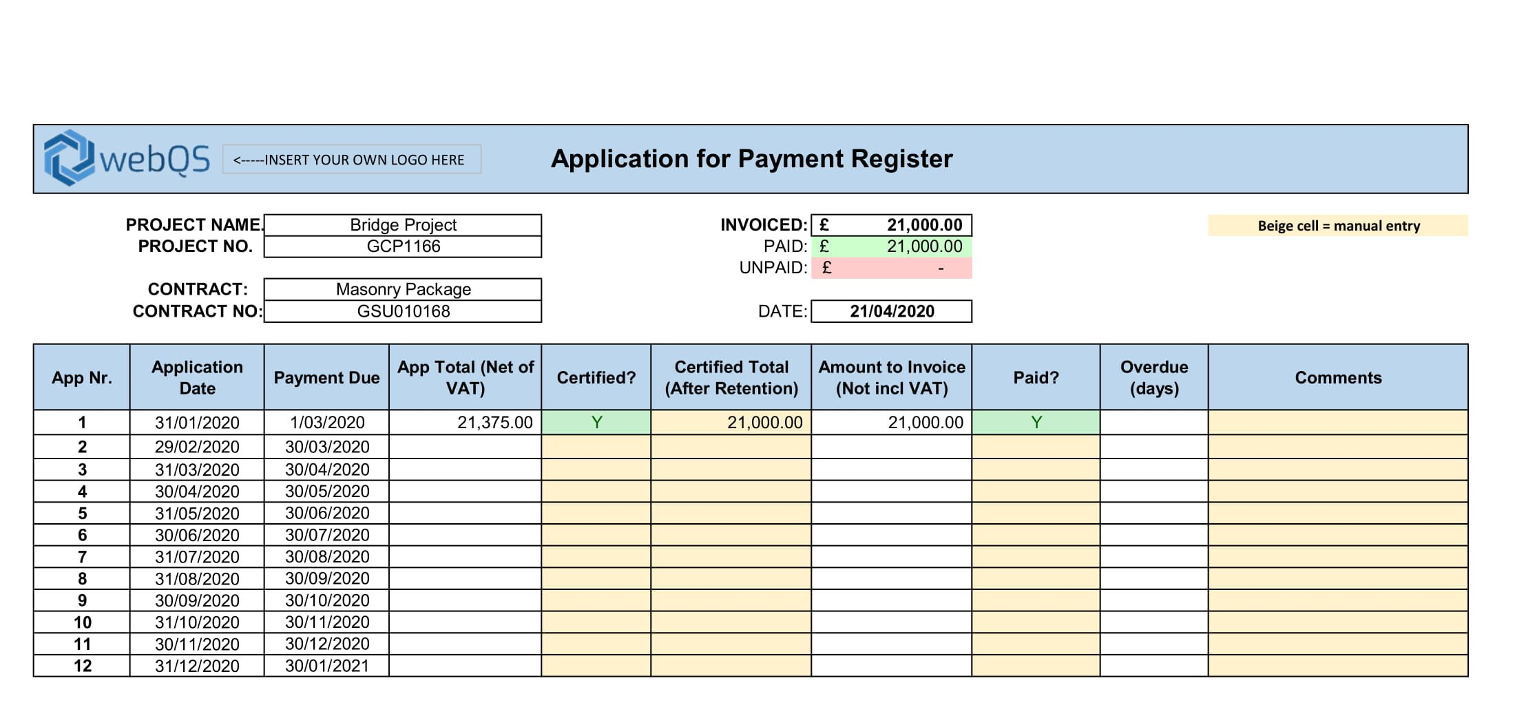progress payment template schedule