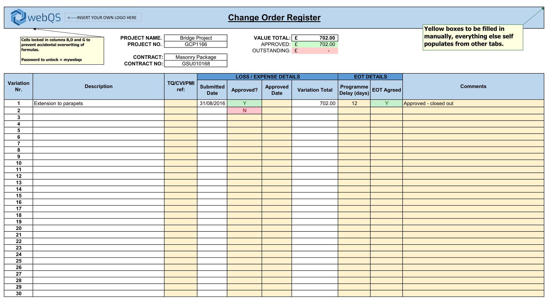 change order register